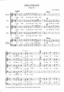 Sample score - Sing for Joy