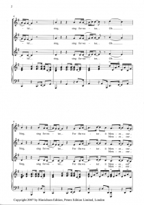 Score sample - Sing, Sing for Water